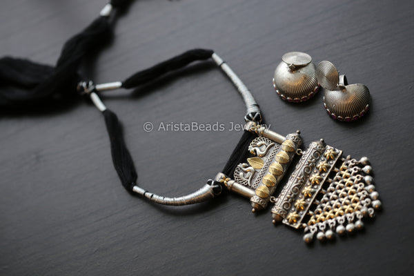 Black & Silver Thread Dual Tone Necklace
