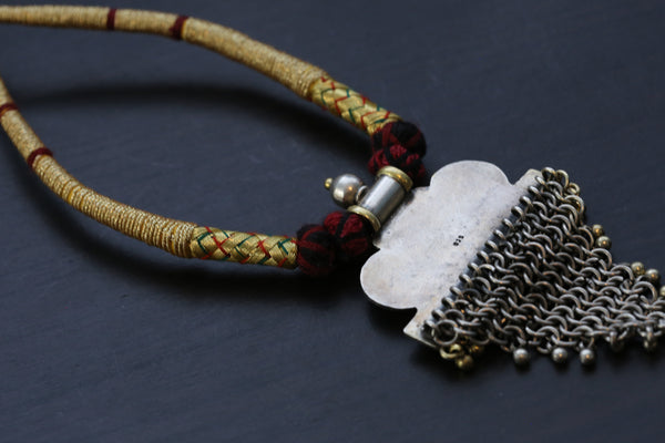 Sterling Silver Gold Thread Hasli Necklace