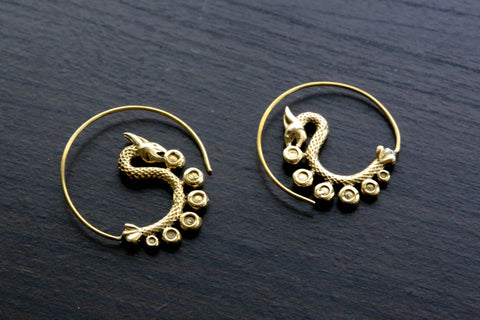 Dragon Brass Earrings - AristaBeads Jewelry - 1