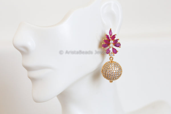 Ruby CZ Earrings
