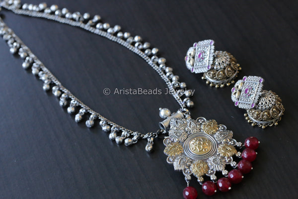 Ruby Silver Look Dual Tone Necklace