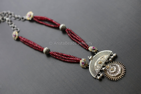 Dual Tone Ruby Beaded Necklace