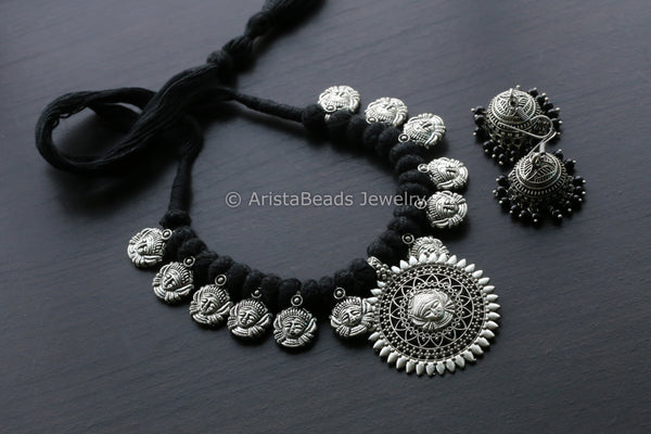 Oxidized Indian Durga Necklace