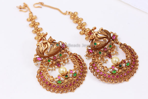 Antique Gold Chandbaali With Earchains