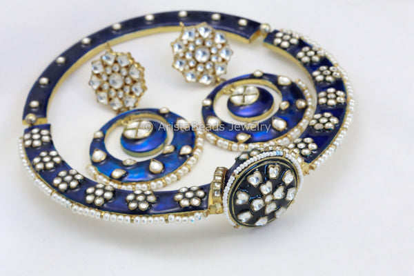 Real Kundan Blue Enamel Hansli Necklace