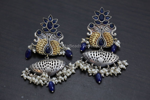 Beautiful Dual Tone Blue Chandbaali