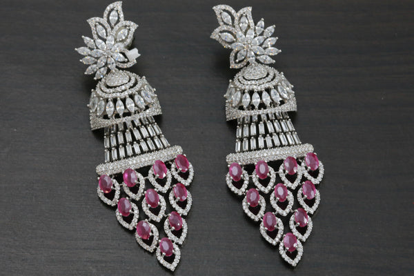 Ruby Silver Finish CZ Earrings