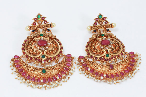 Large Antique Gold Chandbaali - Multicolor