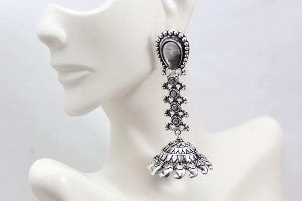 Long Silver Look Jhumka