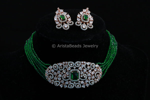 Contemporary CZ Green Choker Set