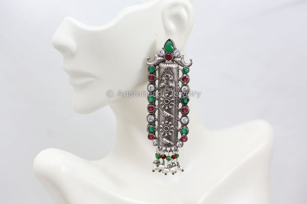 Long Silverlook Green Ruby White Earrings