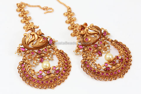 Antique Gold Chandbaali With Earchains- Ruby