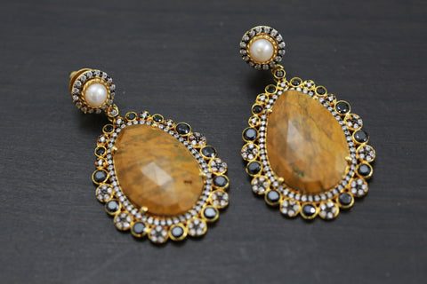 Designer Yellow Jasper Semiprecious Earrings
