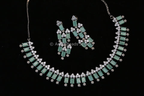 Contemporary Aqua CZ Necklace Set