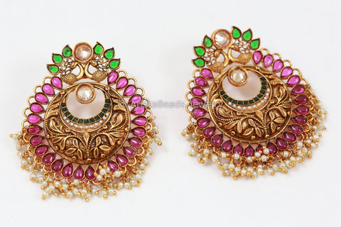 Antique Gold Chandbaali -Ruby Green