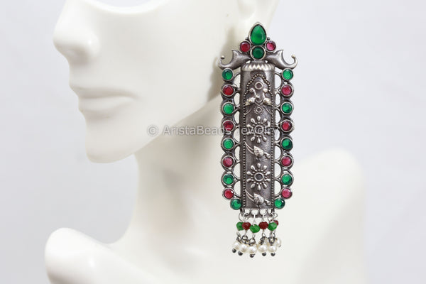 Long Silverlook Green Ruby Earrings