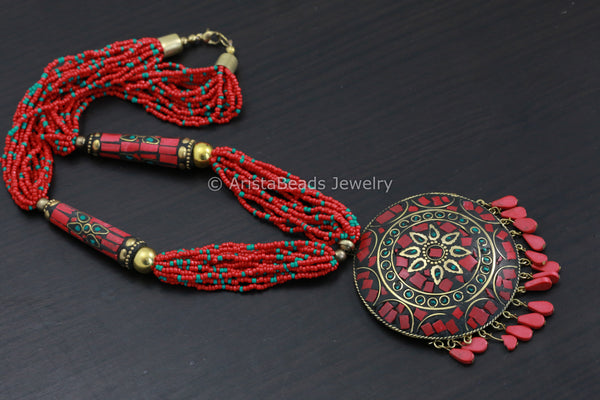 Red Mosaic Round Pendant Necklace
