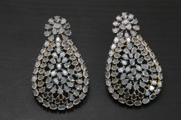 Large Contemporary Victorian CZ Earrings