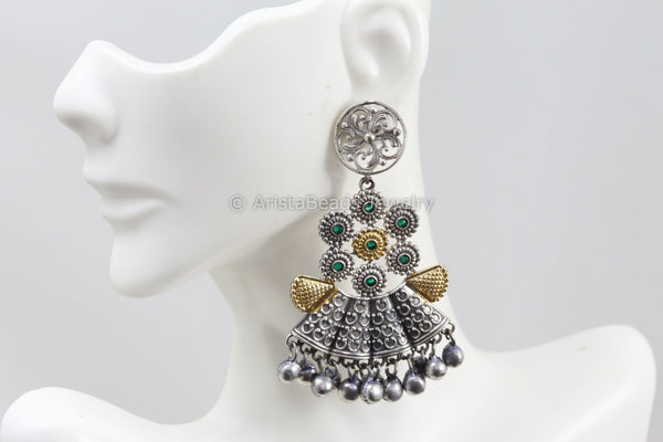 Dual Tone Silver Look Green Chandbaali