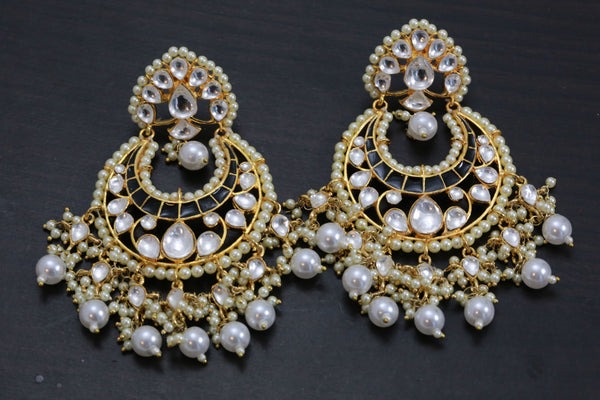 Designer Kundan Black Enamel Earrings