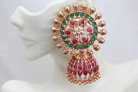 Rose Gold Extra Large Polki Jhumka