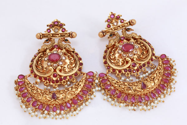 Large Antique Gold Chandbaali - Ruby