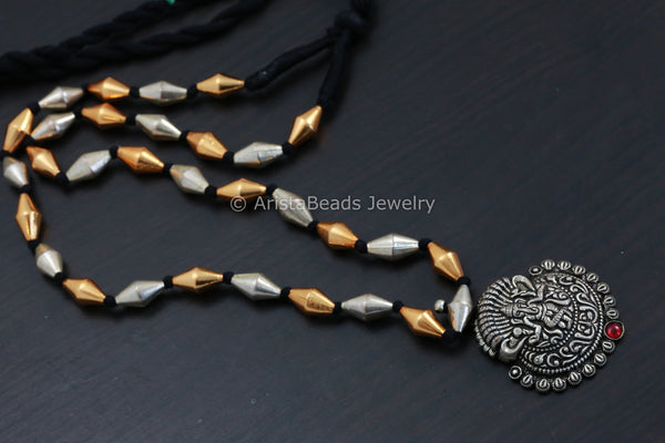 Dual Tone Dholki Ganesha Necklace