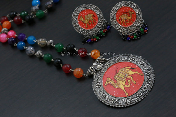 Oxidized Camel Painting Necklace Set