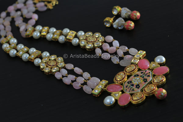 Rose Quartz Kundan Designer Mala Necklace
