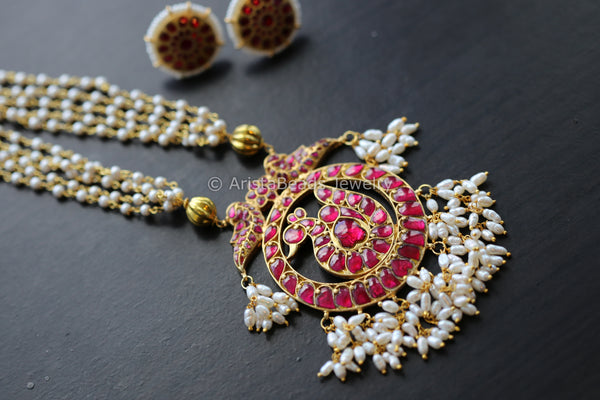 Handmade Ruby Peacock Kundan Necklace Set