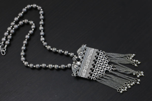 Black Oxidized Tassel Necklace