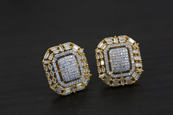 Real Diamond Look CZ Polki Studs