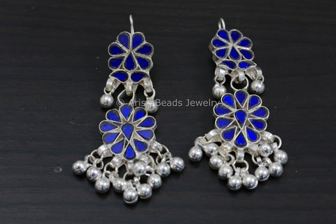 Blue Glass Afghan Earrings