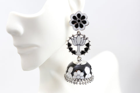 Black Lotus Enamel Jhumka