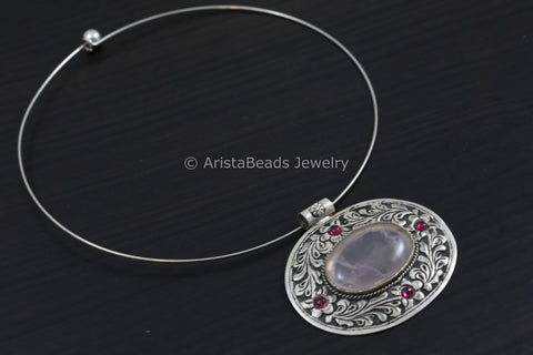 925 Silver Delicate Rose Quartz Hasli Necklace