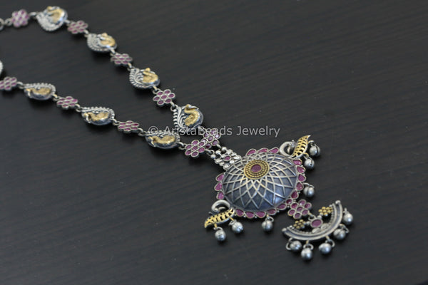 Ruby CZ Two Tone Necklace