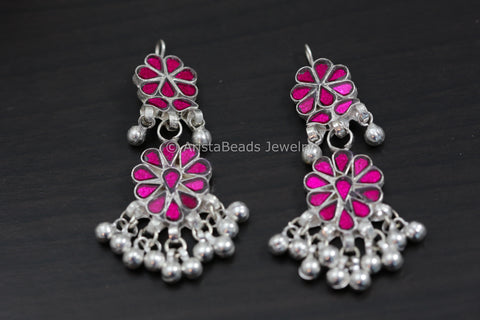Pink Glass Afghan Earrings