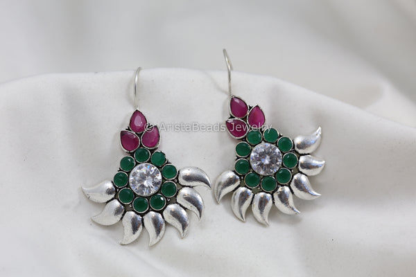 Clear Green Ruby CZ Hook Earrings