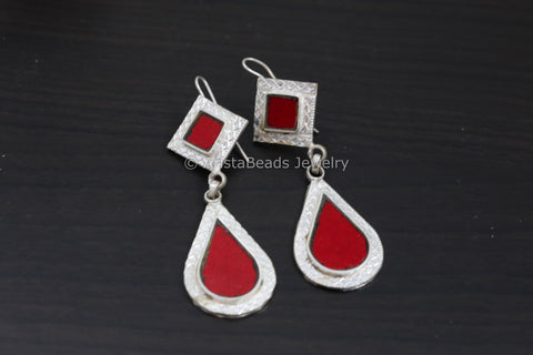 Red Glass Afghan Earrings