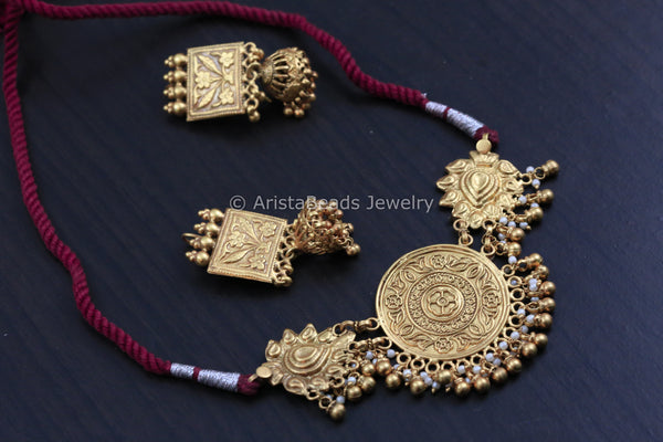 925 Gold Plated Silver Choker Necklace & Earrings