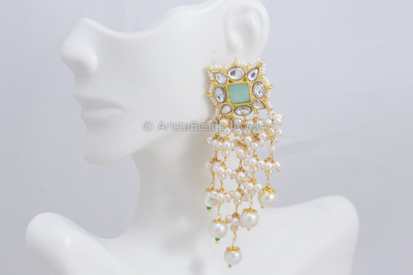 Aqua Kundan Tassel Earrings