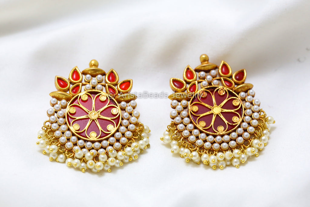 Antique Gold Red Chandbaali