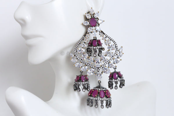 Large Victorian Ruby CZ Jhumka
