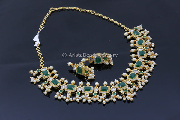 Emerald & Clear Polki Pearl Necklace