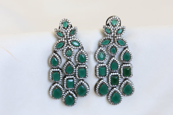 Reserved >Designer Emerald CZ Earrings