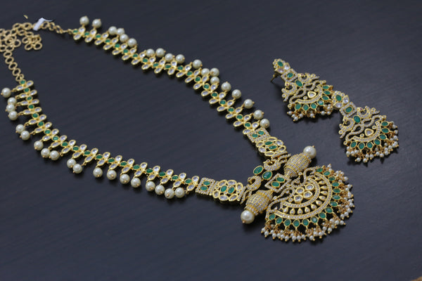 Long Emerald Polki Haram Necklace