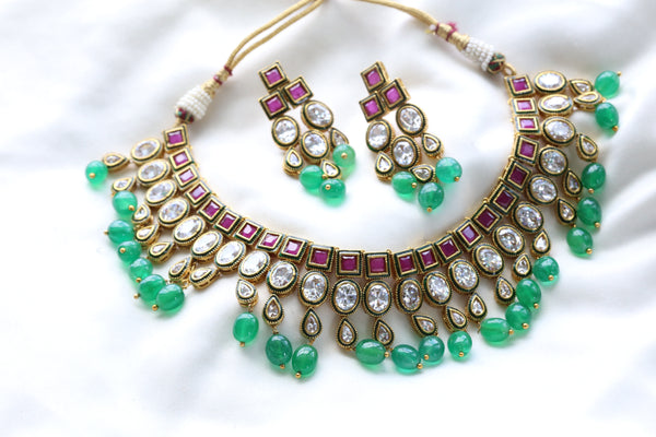 Rajwadi Kundan Emerald Necklace