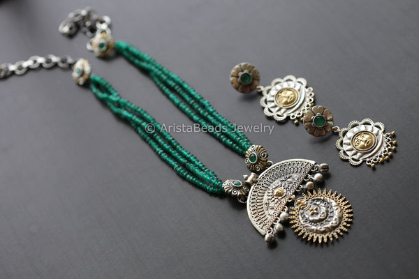 Emerald Green Dual Tone Beaded Necklace
