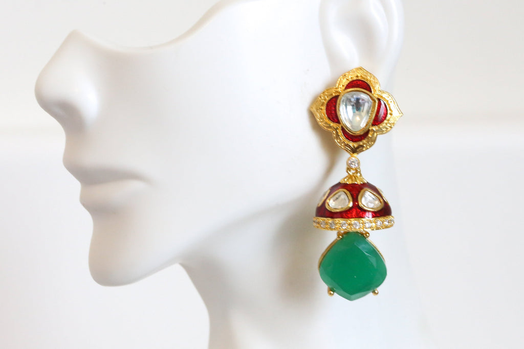 Cute Enamel Kundan Jhumka - Red