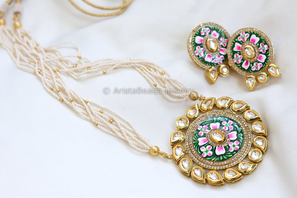 Kundan Enamel Jadau Necklace - Green